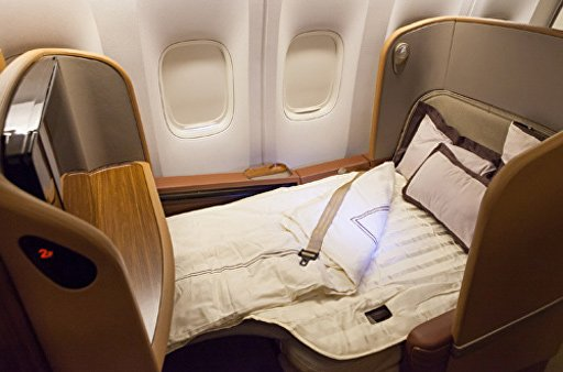 Singapore Airlines Busines Class - A 350 - Sitz in Schlafposition