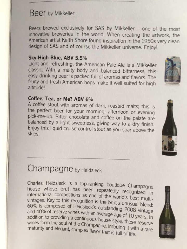 Weinkarte SAS Business Class