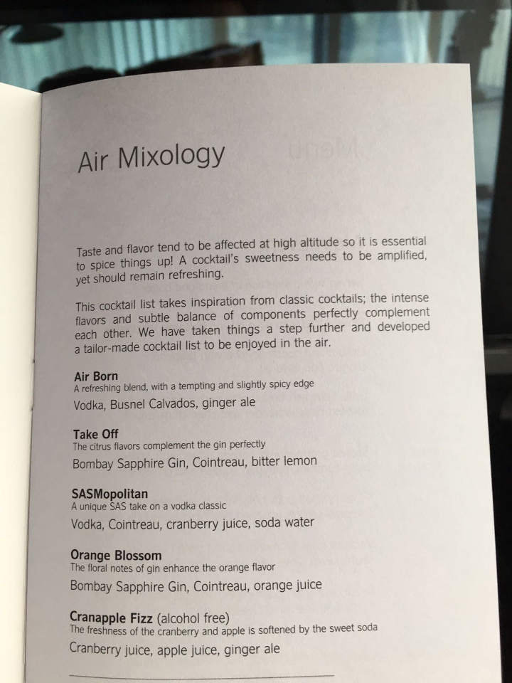 Cocktailcarte SAS Business Class