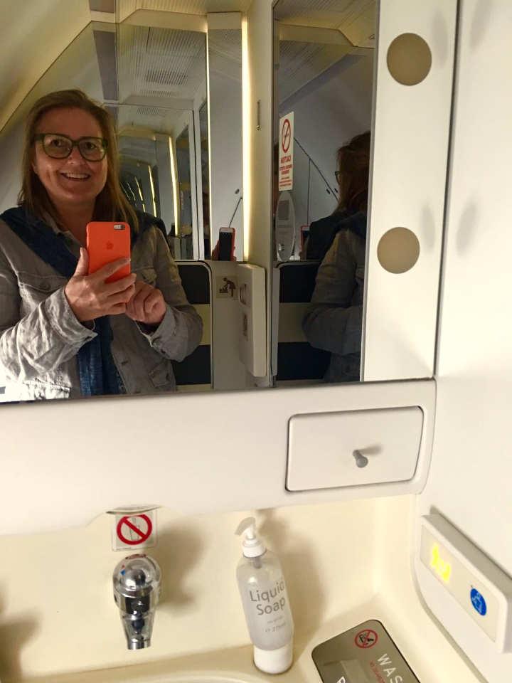 Toilette im A330 Business Class SAS