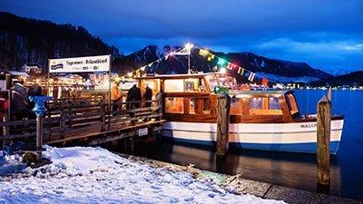 Tegernsee Winter Weihnachtsmarkt mit dem Schiff