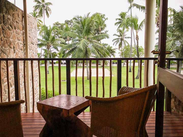 Zimmer mit Meerblick auf die Anlage des Kempinski Seychellen